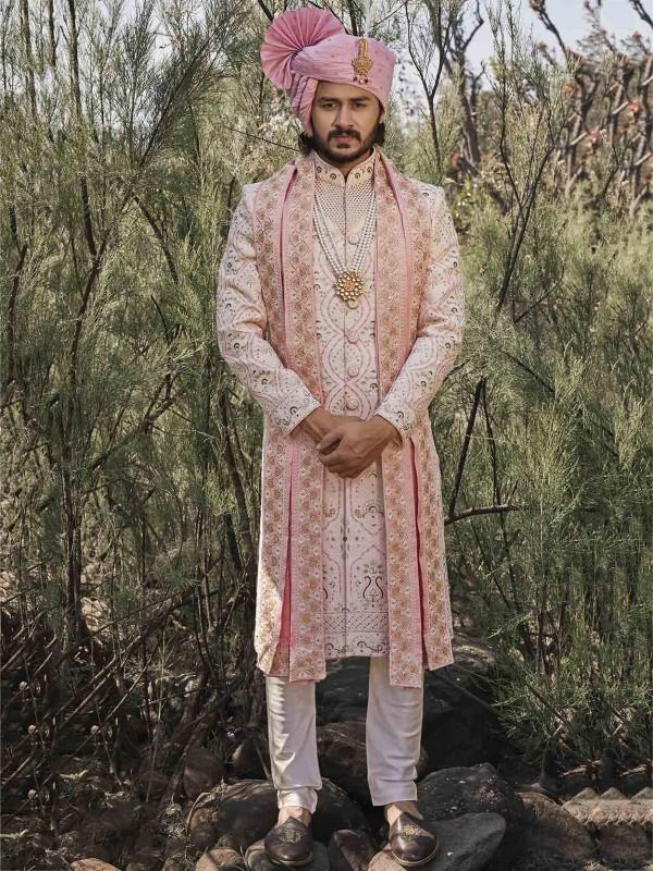 Baby Pink Colour Silk Fabric Designer Sherwani.