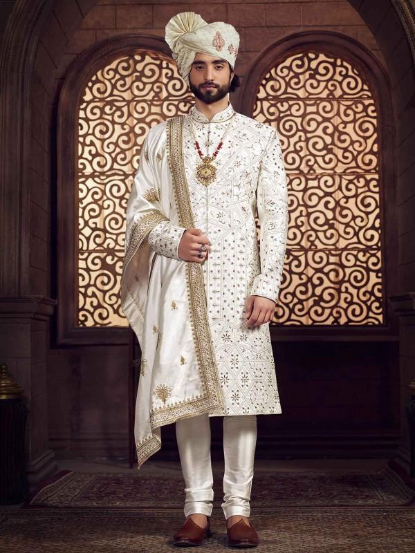 Off White Colour Silk Fabric Groom Sherwani.
