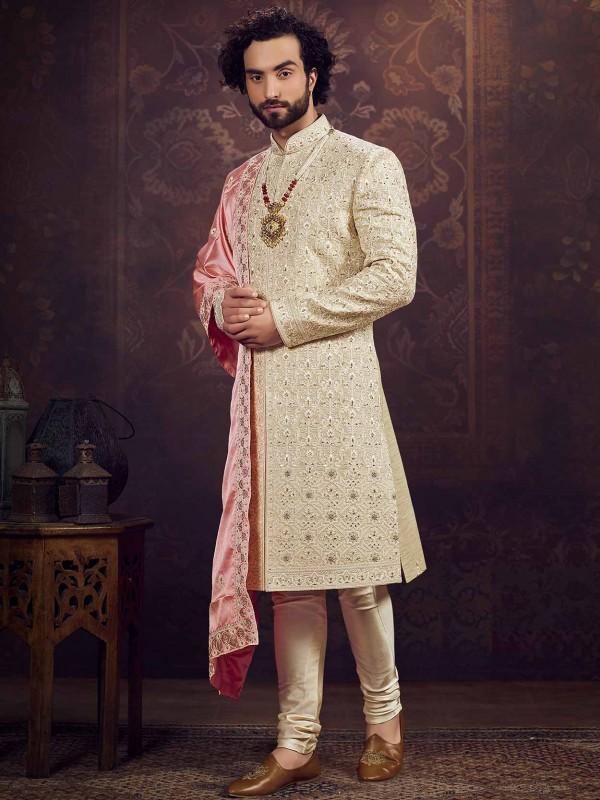 Beige,Golden Colour Silk Fabric Groom Sherwani.