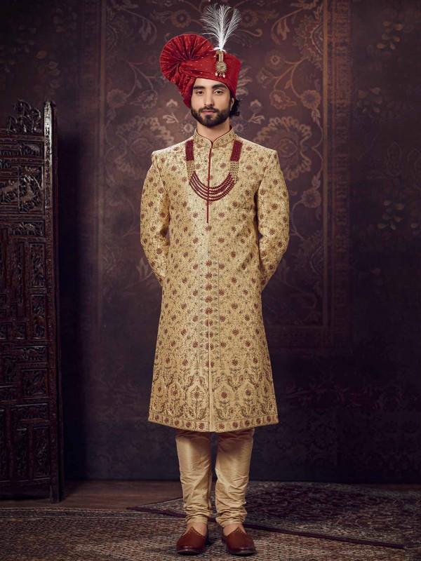Maroon,Golden Colour Silk Indian Designer Sherwani.