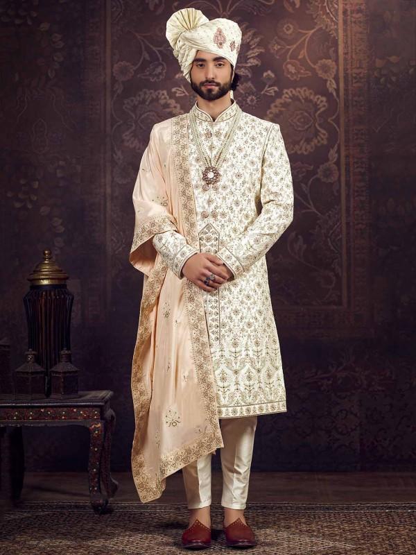 Cream Colour Silk Indian Designer Sherwani For Men.