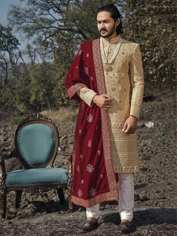 Golden,Beige Colour Silk Indian Designer Sherwani.