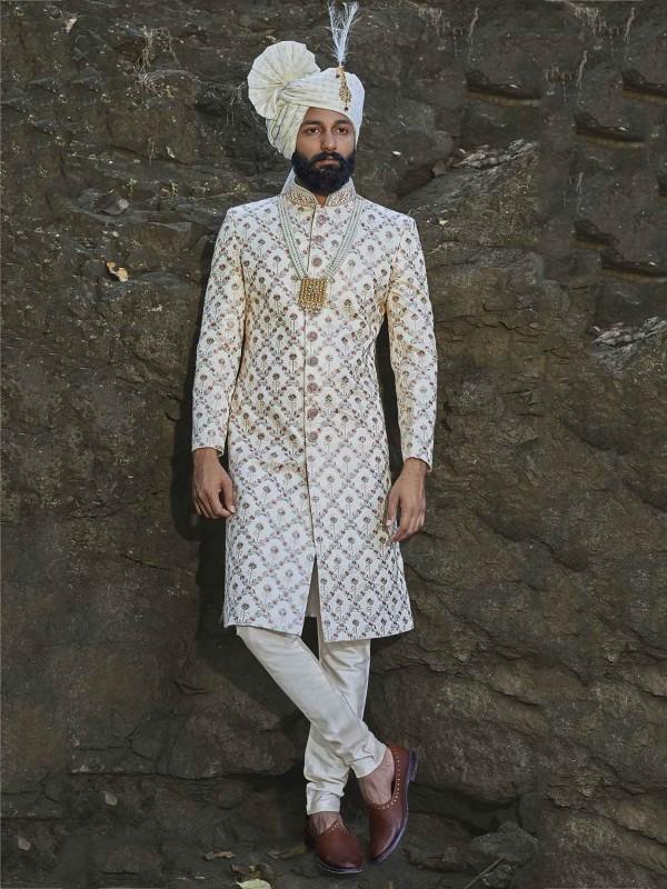 Cream Colour Silk Fabric Groom Sherwani.