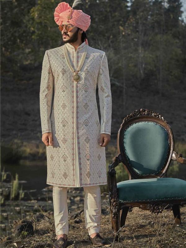 Cream Colour Silk Indian Designer Sherwani.