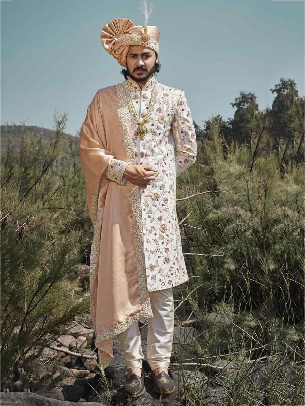Silk Wedding Sherwani Cream,Off White Colour.