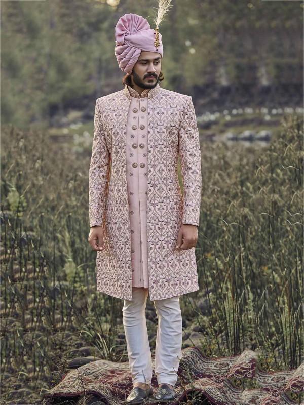 Pink Colour Silk Fabric Men's Sherwani.