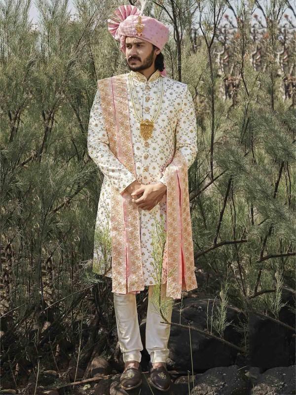 Cream Colour Silk Indian Wedding Sherwani.