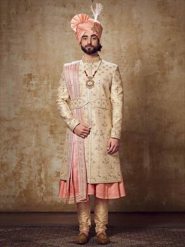 Golden Colour Silk Indian Groom Sherwani.