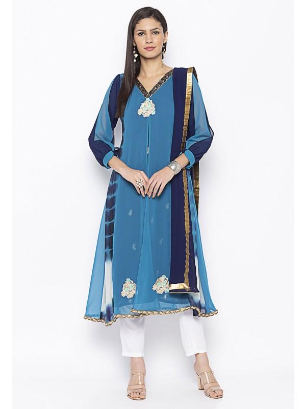 Blue Colour Georgette Salwar Suit.