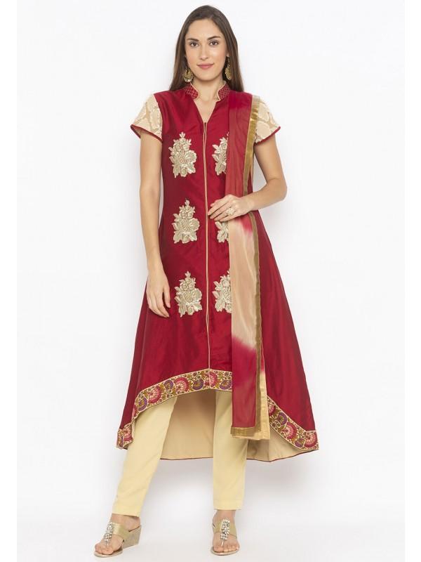Cotton Silk Salwar Kameez Maroon Colour.