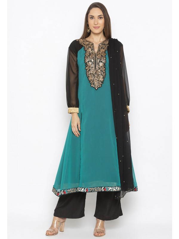 Teal Green Colour Indian Salwar Kameez.