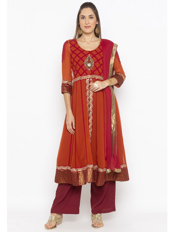 Rust Colour Designer Salwar Kameez.