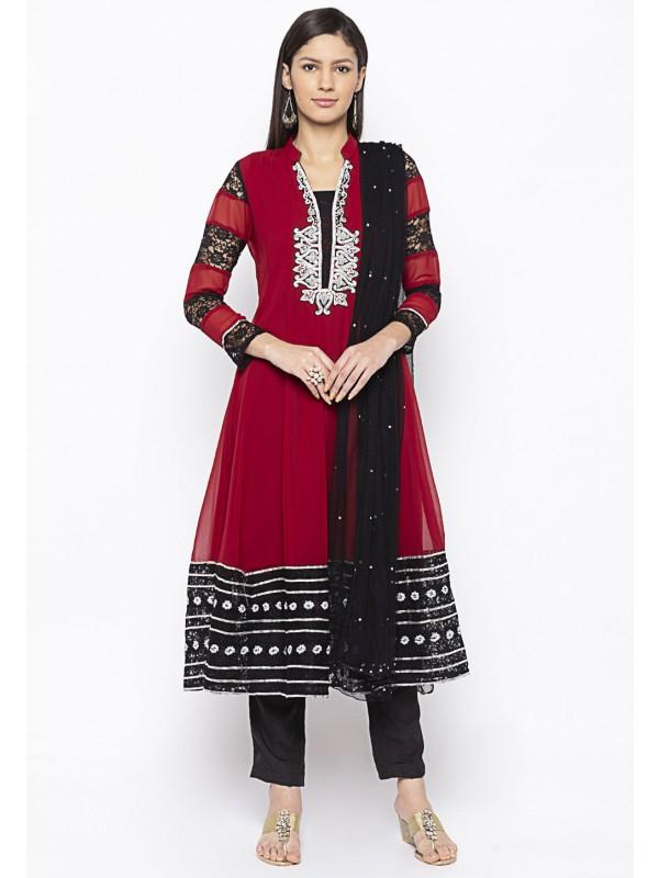 Georgette Salwar Suit Maroon Colour.