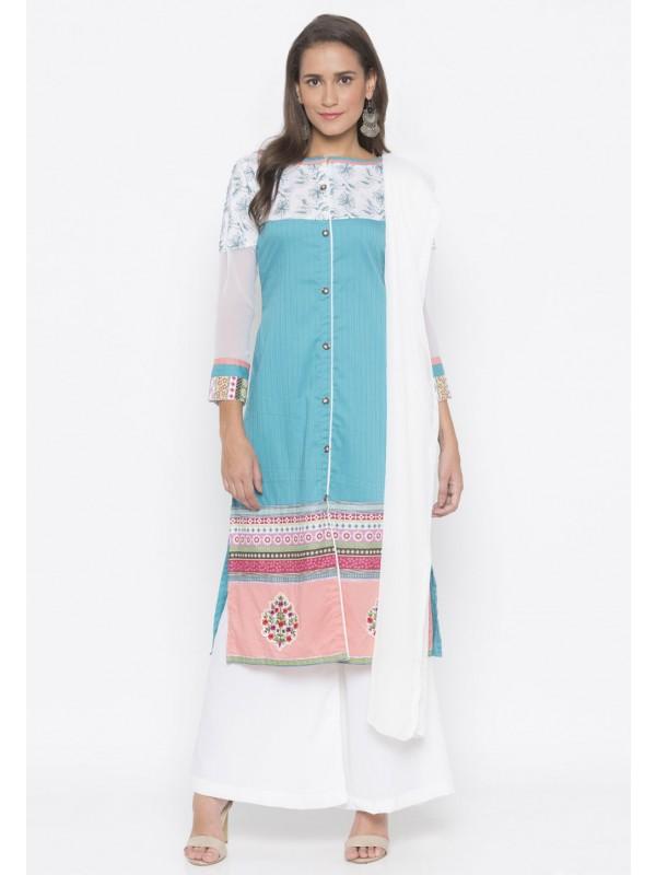 Printed Salwar Suit Blue Colour.