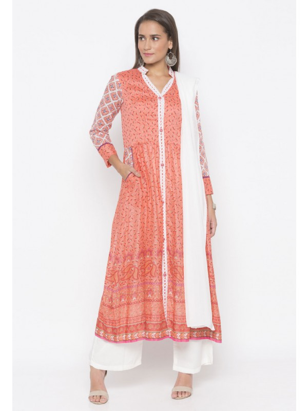 Peach Colour Printed Salwar Kameez.