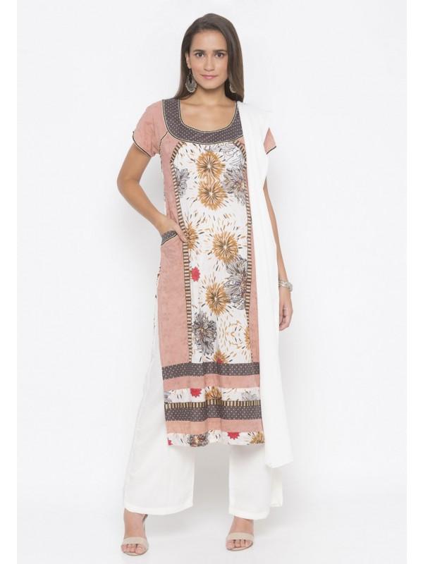 Cotton Salwar Kameez Peach Colour.