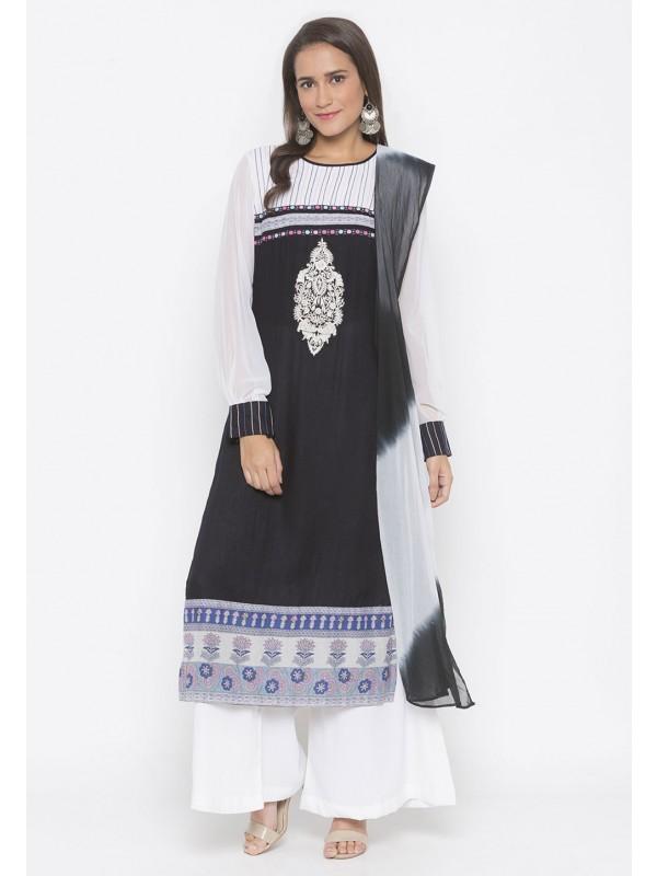 Black Colour Cotton Salwar Suit.