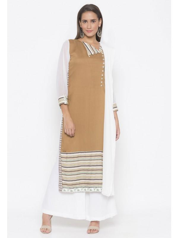 Cotton Printed Salwar Kameez Brown Colour.