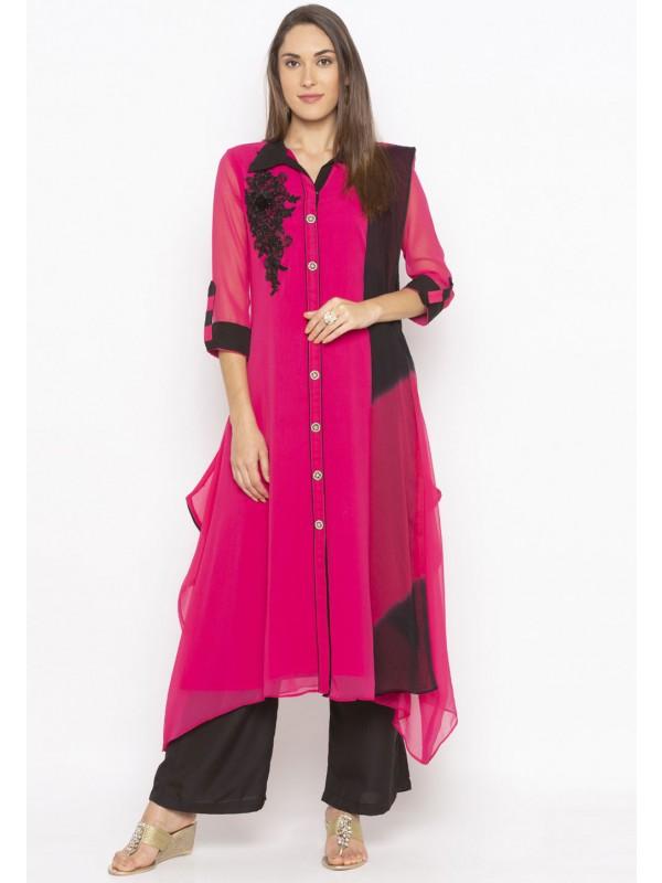 Pink Colour Georgette Salwar Kameez.