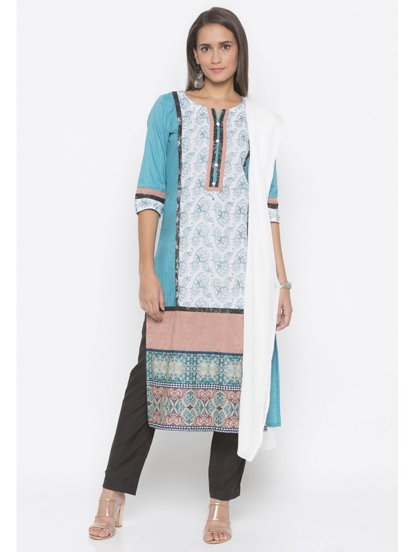 Blue Colour Printed Salwar Kameez.