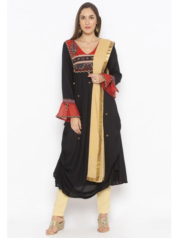 Cotton Salwar Suit Black Colour.