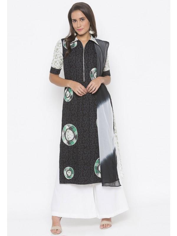 Black Colour Printed Salwar Kameez.