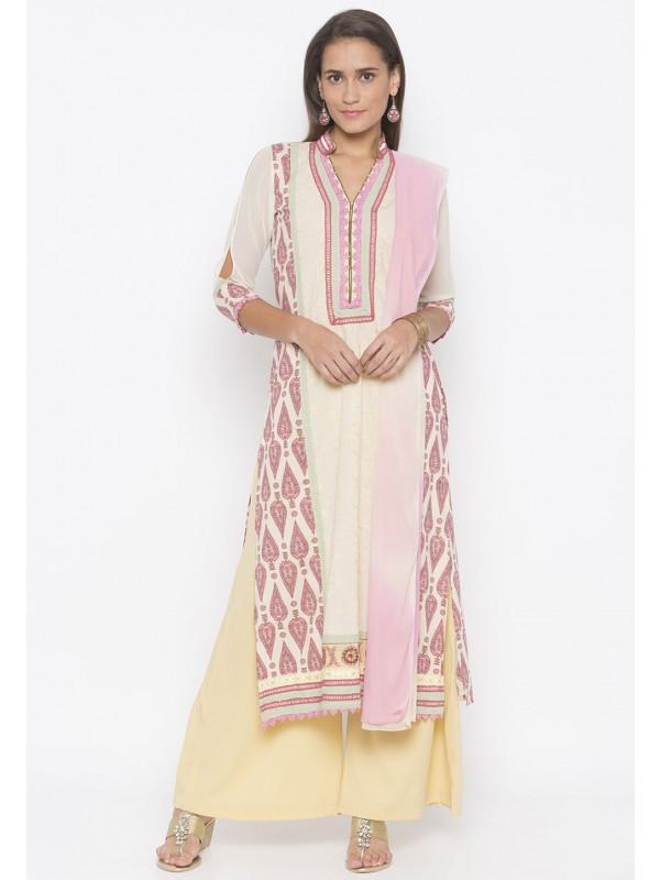Indian Salwar Kameez Cream Colour.