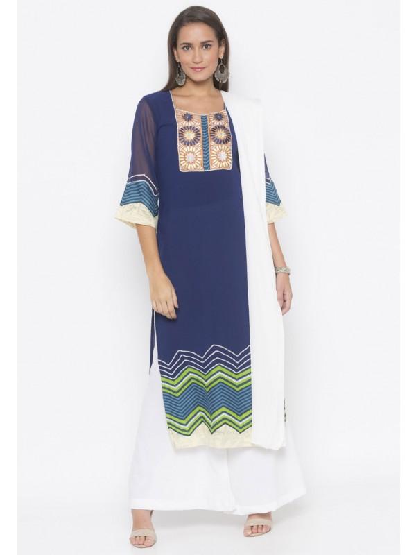 Navy Blue Colour Women Salwar Suit.
