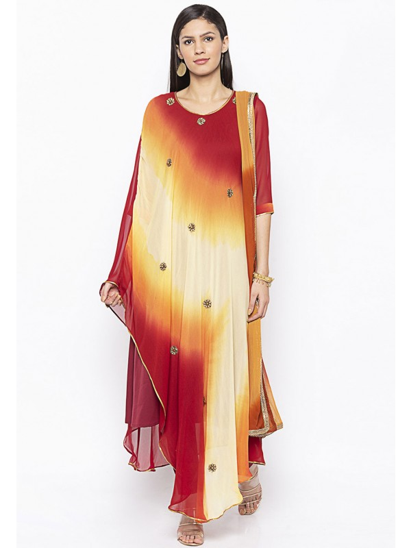 Maroon Colour Embroidery Salwar Suit.