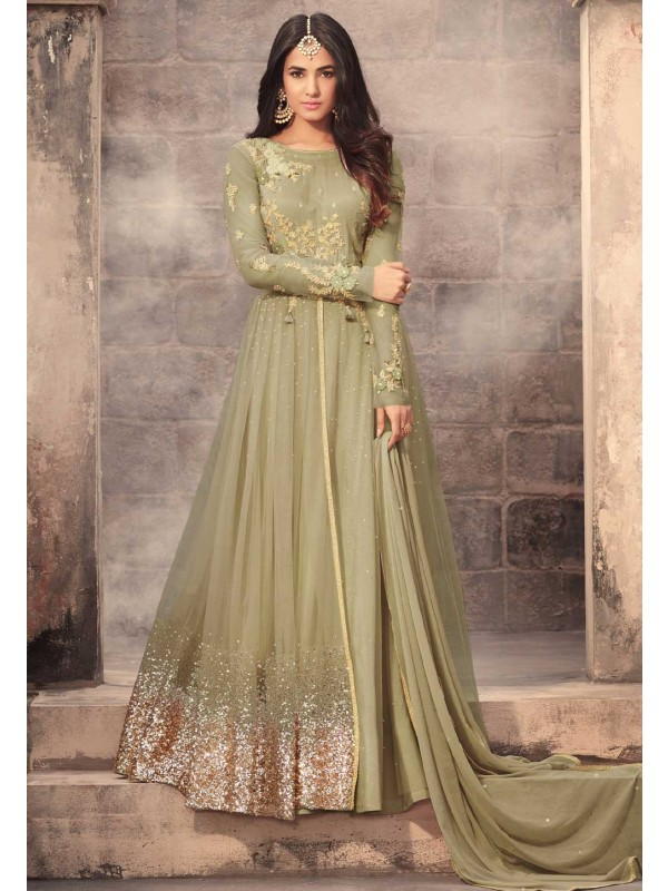 Green Color Net Fabric Amazing Salwar Kameez in Anarkali Style