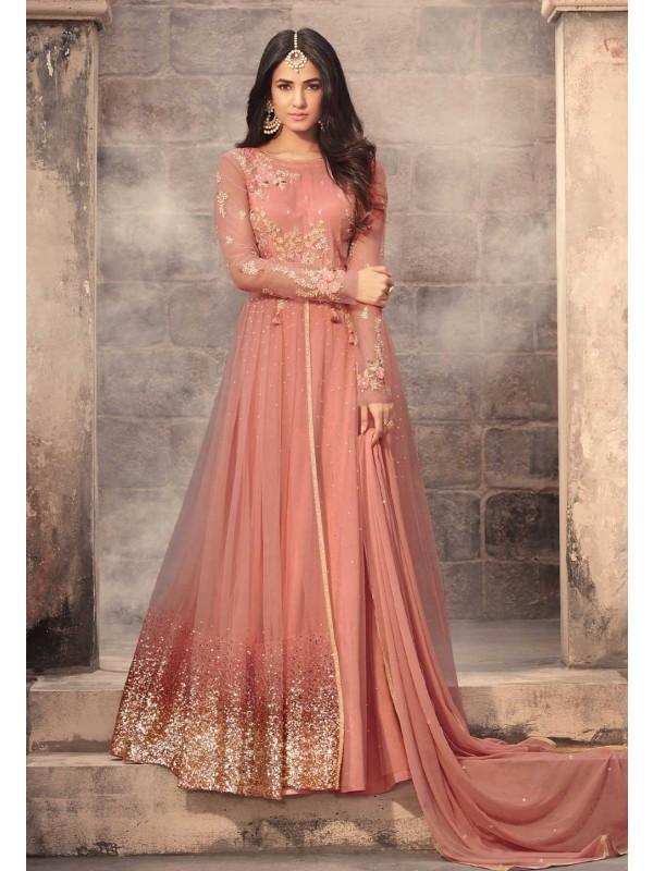 Peach Color Net Fabric Anarkali Salwar Kameez