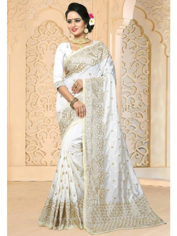 White Color Art Silk Saree