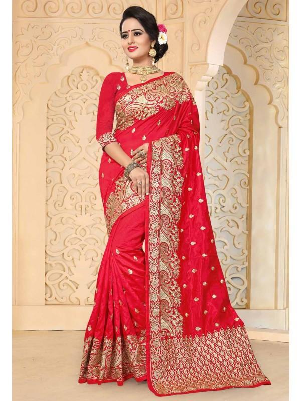 Red Color Art Silk Fabric Designer Bridal Saree
