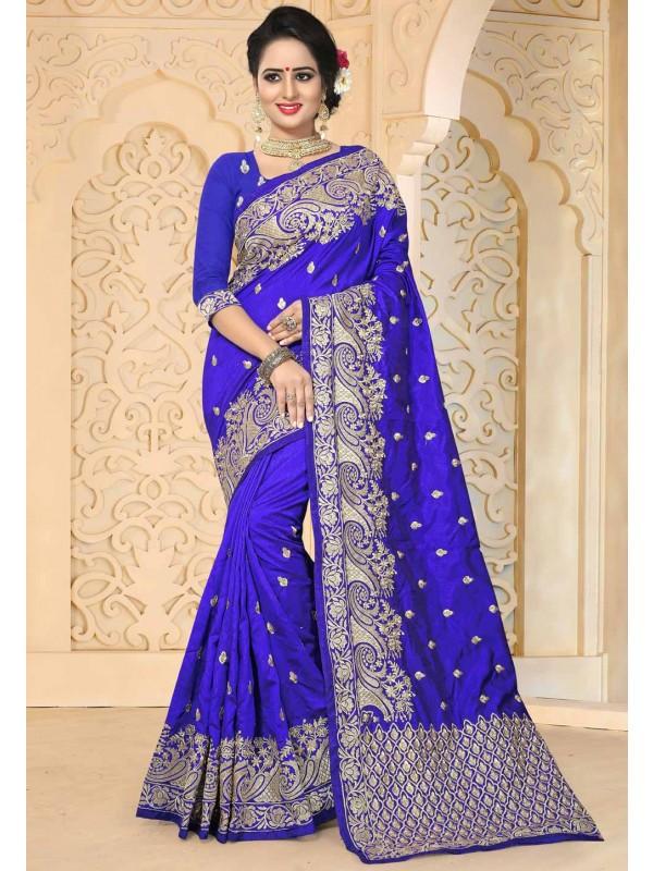 Royal Blue Color Party Wear Saree