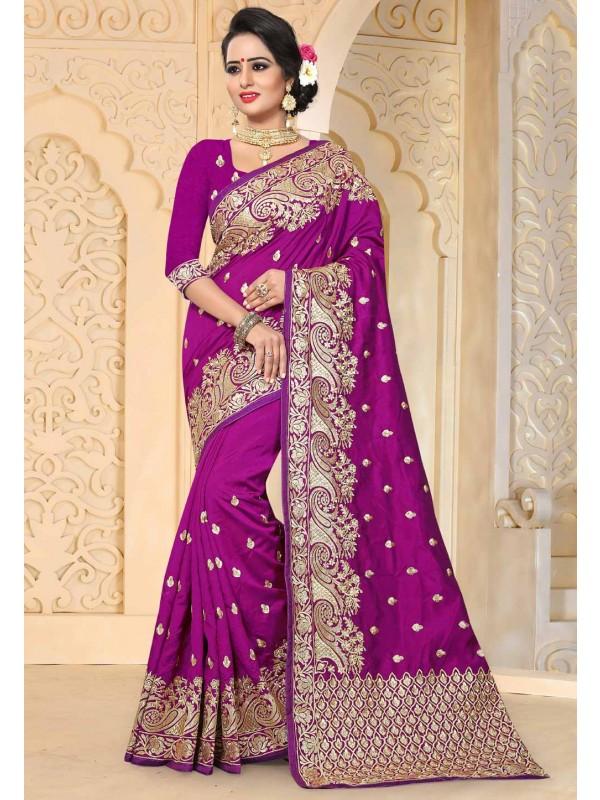 Beautiful Purple Color Art Silk Saree