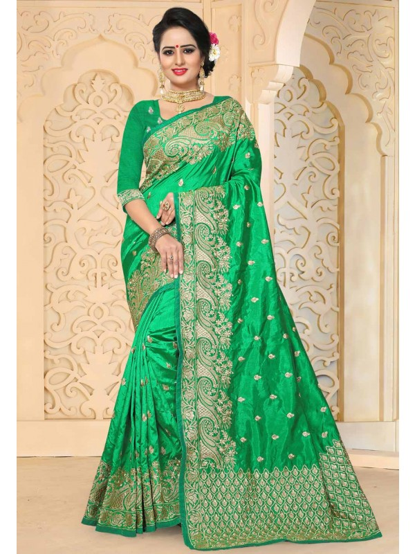 Green Color Saree With Attractive Embroidered Pallu