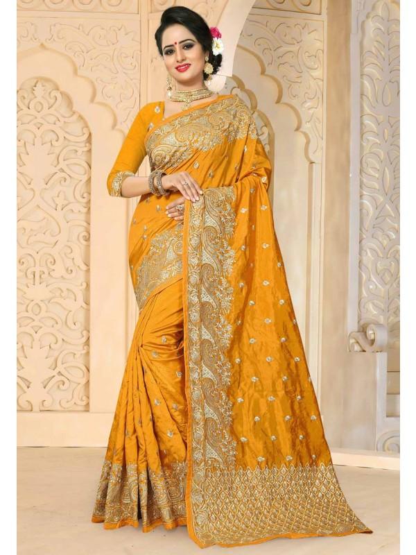 Yellow Color Art Silk Fabric Designer Saree