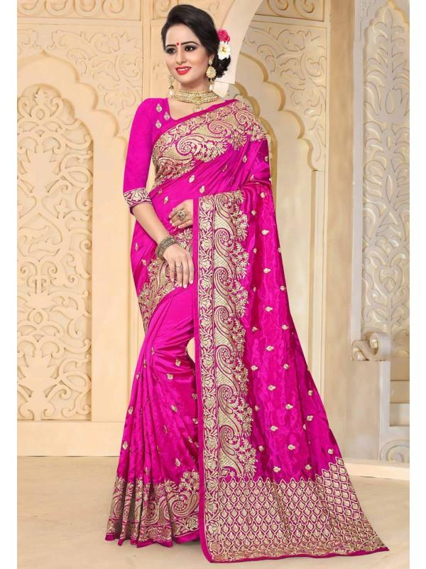 Designer Bridal Saree in Pink Color & Art Silk Fabric