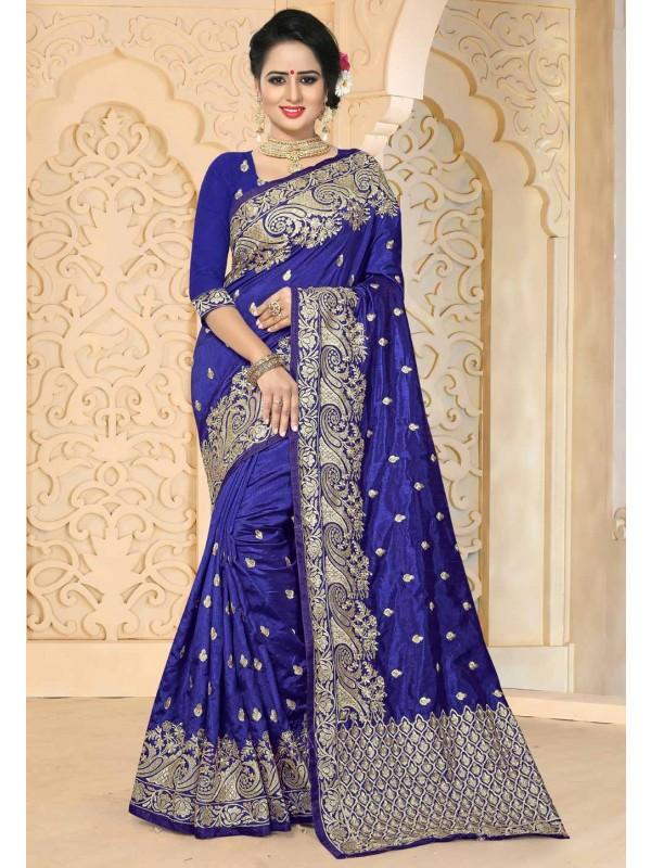 Blue Color & Art Silk Fabric Party Wear Saree