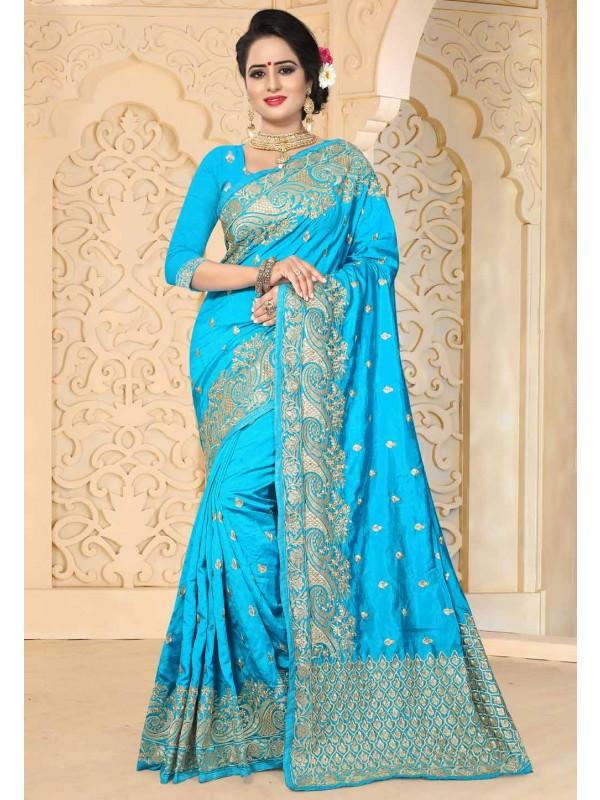 Attractive Turquoise Color Art Silk Saree