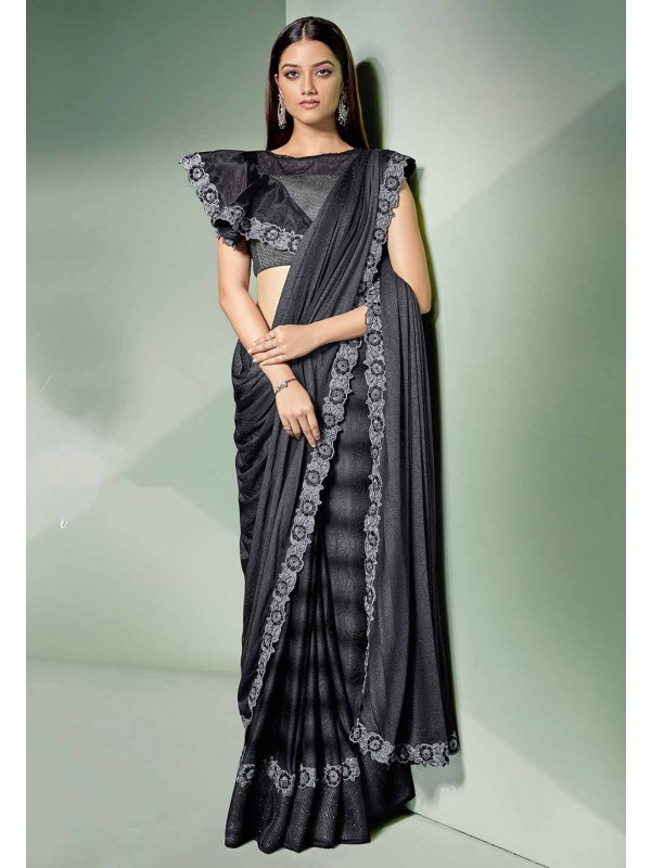 Black Colour Designer Saree.
