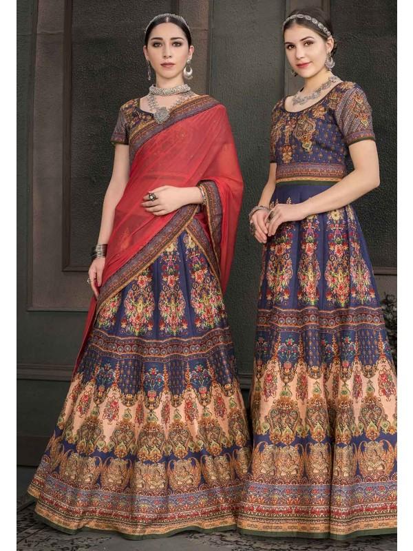 Blue Colour Designer Lehenga Choli.