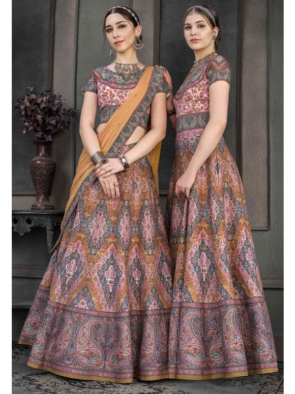 Multi Colour Art Silk Lehenga.