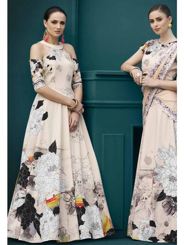 Beige,Multi Colour Indowestern Gown.