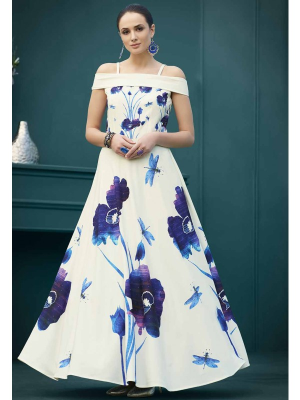 Off White Colour Readymade Gown.
