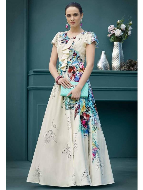 Cream,Blue Colour Printed Gown.