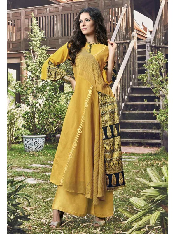 Yellow Color Jacquard Readymade Kurti.
