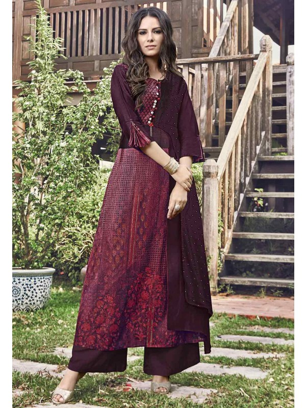 Maroon Color Party Wear Kurti.