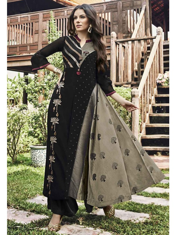 Party Wear Kurti in Black,Grey Color.