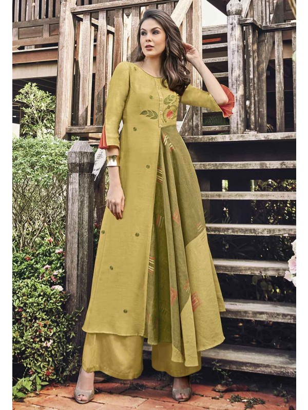 Yellow Color Printed Readymade Kurti.